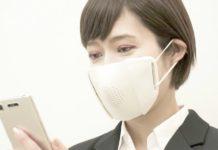Máscara japonesa traduz a fala do usuário em oito idiomas. Fotos Donut Robotics